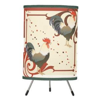 Fun art decor rooster farm lamp