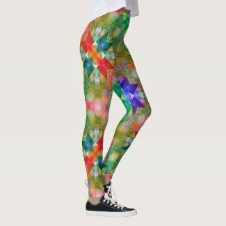 Geometric watercolor inspired Christmas leggings