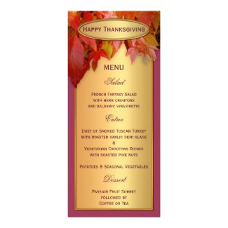 Personalized Gold Thanksgiving Menu Card