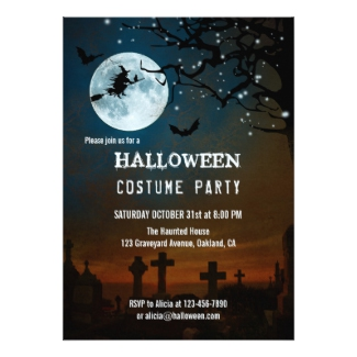 Haunted Halloween Sparkling Light Invitation