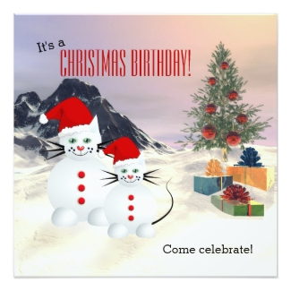 Snow Cats Kids Christmas Birthday Invitation