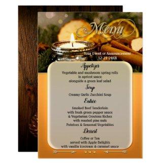 Holiday menu card template