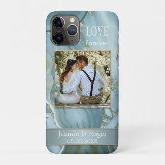 Your photo dusty blue marble design phone case - wedding gift ideas