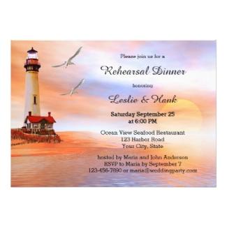 Beach lighthouse rehearsal dinner invitation - nautical rehearsal dinner invitations