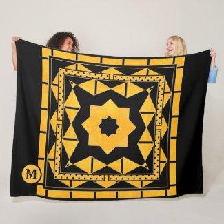 Black and ocher monogram fleece blanket