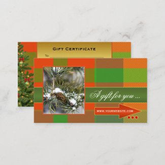 Custom photo plaid Christmas gift certificate template - gift certificate business cards