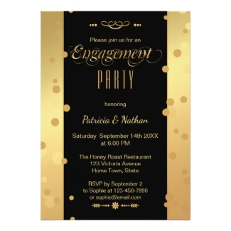 Stylish gold black confetti engagement party invitation