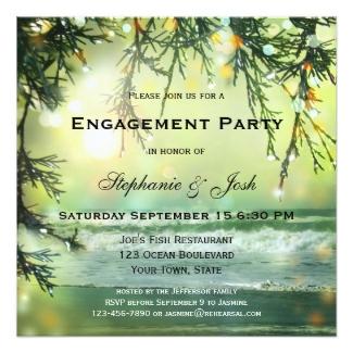 Green sparkling beach engagement invitation