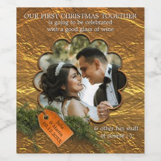 Newly weds first Christmas together personalized wine label