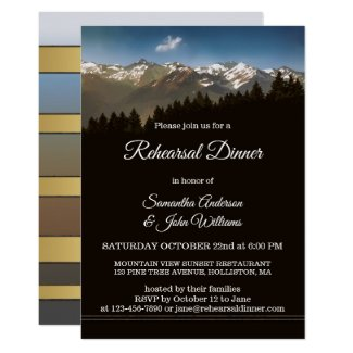 Painted mountain trees wedding rehearsal dinner invitations