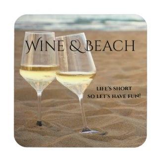 Wine and beach coasters