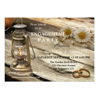 Rustic country lantern on wood engagement invitation