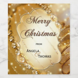 Sparkling gold Christmas personalized wine label