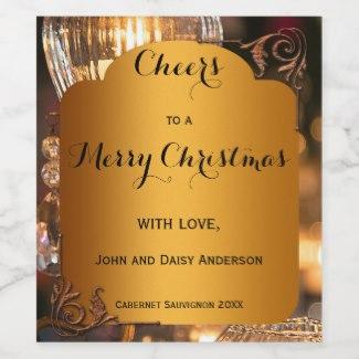Stylish gold retro personalized Christmas wine label
