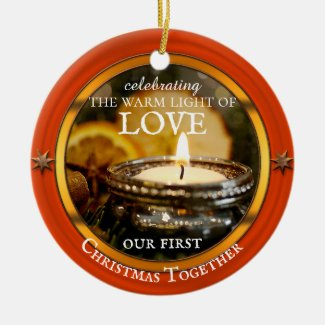 Your photo festive candle Christmas ornament