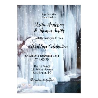 Frozen waterfall bridal veil winter wedding invitation
