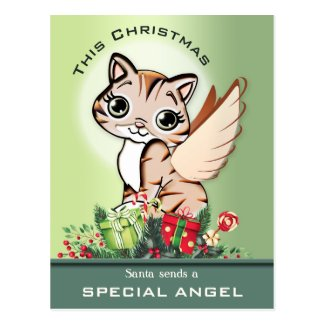Merry Christmas Cute Cat Angel Postcard