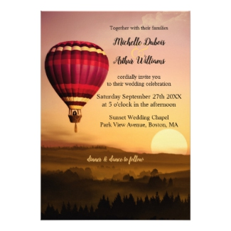 Romantic hot air balloon sunset wedding invitation