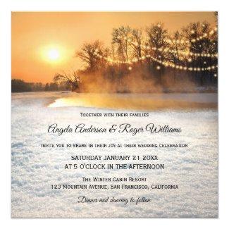 Sparkling string lights sunset winter wedding invitation