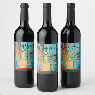 Boho chic funny personalized cat wine label