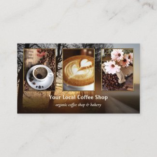 Your 4 photos coffee shop template business card