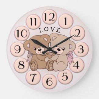 Cute teddy bear hug Valentines Day wall clock