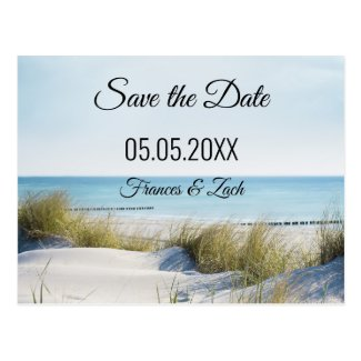 Save the Date card featuring a beach scene