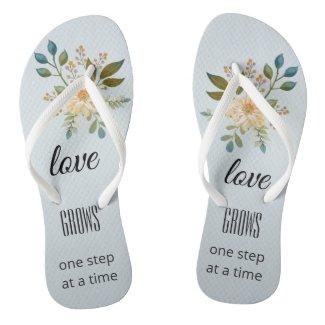 Dusty blue floral elegant bridal flip flops