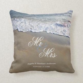 Romantic beach wedding pillow - personalized wedding gift