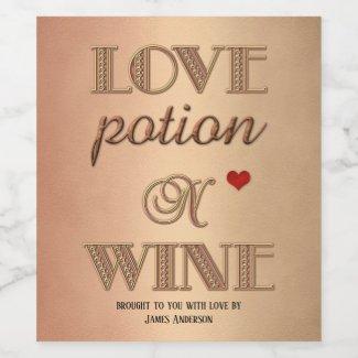 Funny retro love potion romantic wine label