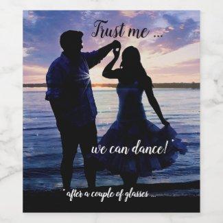 Funny romantic dance Valentine's Day personalized wine label