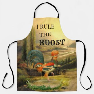 Vintage rooster funny apron