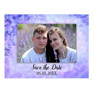 Lilac sparkling lights photo save the date postcard