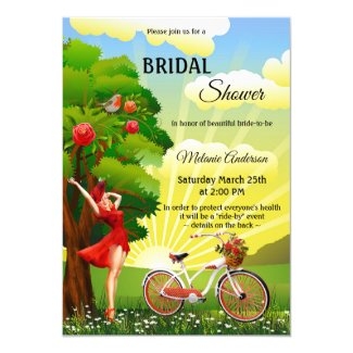 Outside bicycle retro park social distancing bridal shower invitation