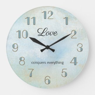 Artistic seafoam beach themed love wall clock