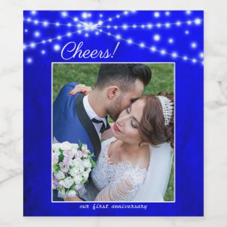 Your photo royal blue string lights anniversary wine label