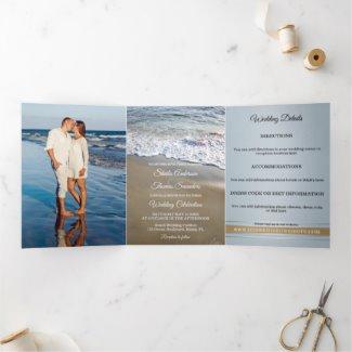 Trifold beach or destination wedding invitation in dusty blue