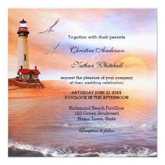 Beach lighthouse painted original wedding invitation