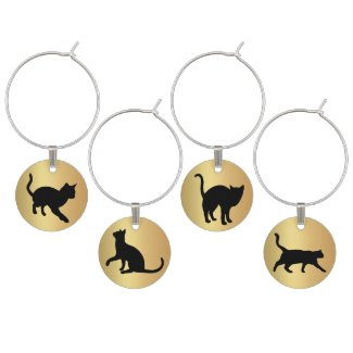 Gold black cat design wine charms