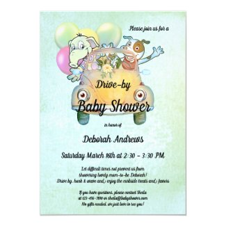 Cute animals in car drive by baby shower invitation