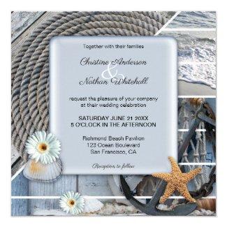 Dusty blue nautical beach wedding invitation