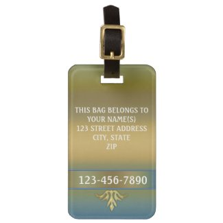 Elegant gold blue green classic luggage tag