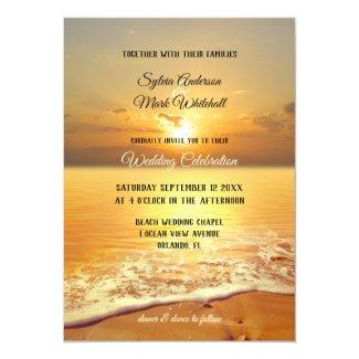 Golden sunset beach wedding invitation