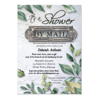 Retro Rustic Greenery By Mail Baby Shower Invitation