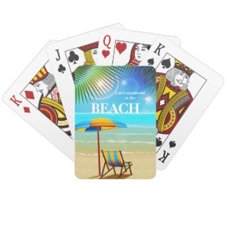 Tropical sunny beach playing card deck