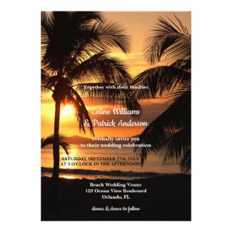 Tropical palm trees beach wedding invitation