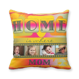 Colorful Spring Garden Mother Photo Pillow - personalized gifts for mom