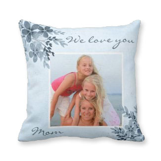 Dusty blue floral design photo pillow - mother's day gifts