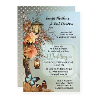 Enchanted garden geometric wedding reception party invitation