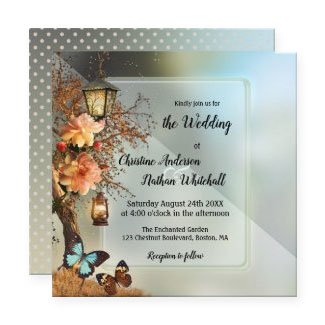 Geometric enchanted garden romantic wedding invitation